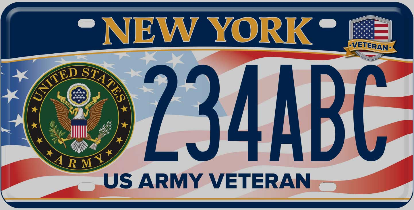 Dmv veteran service branch plates new york state for Nys fishing license cost
